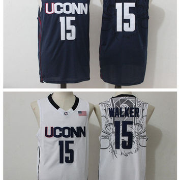 3fd084c6f585 ... Cheap College Uconn Huskies Jerseys Sports Basketball 15 Kemba Walker  Jersey Stitched Basketball Jersey Breathable Navy ...