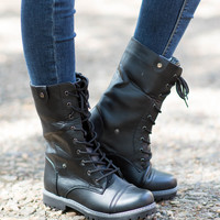 Renegades Lace-Up Combat Boot - Black