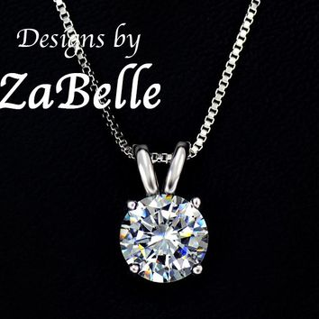 White Gold Plated 2 ct Solitaire Hearts and Arrows CZ Pendant with Necklace