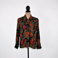 80s Blouse Medium Floral Long Sleeve Button Up Shirt Rayon Wool Oversized Blouse Size 10 The Villager Vintage Clothing Womens Clothing