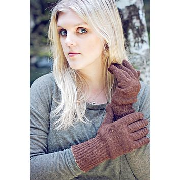 Double-Thick Knit Alpaca Gloves