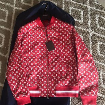 DCCKIN2 Brand New Rare Louis Vuitton LV Supreme X Red Leather Bomber Jacket size 56