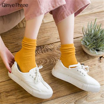 Japanese High School Girls High Socks Loose Solid Colors Double Needles Knitting Soft Cotton Long Socks Women Calcetines mujer