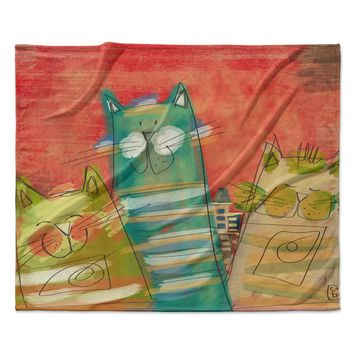 "Carina Povarchik ""Gatos"" Cat Orange Fleece Throw Blanket"
