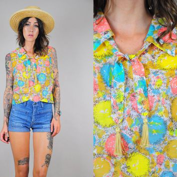 ON SALE 60's Watercolor Cropped Blouse