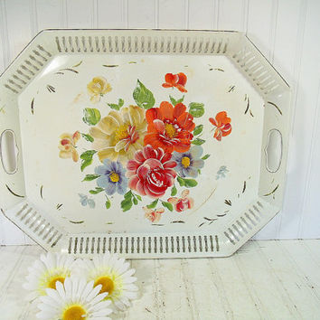 Large Vintage Winter White ToleWare Metal Serving Tray - Retro HandPainted Pierced Metal Antique White EnamelWare Centerpiece Display Basket
