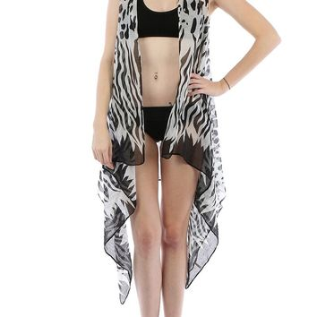 ANIMAL PRINTVEST SHEER COVER UP