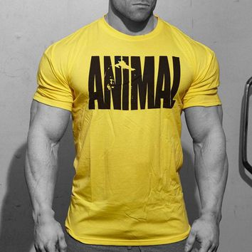 Fitness Mens Animal Iconic T Shirt Bodybuilding Short Sleeve Tops Crew Neck Gyms Musclefitting Tee