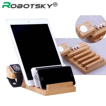 Robotsky 100% Natural Bamboo Charging Dock Station Bracket Cradle Stand Phone Ho