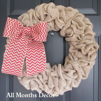 Natural Burlap Wreath with Red Chevron Burlap Bow, Country, Rustic, Door Porch, Spring Easter Fall Winter, Holiday, Year Round