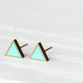 Mini Triangle Post Earrings in Minty Green- Hypoallergenic Studs