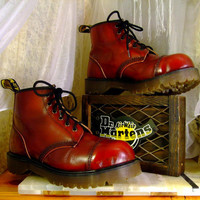Vintage 90s Rare Original Red Patent Leather 6 Up Doc Martens Combat Grunge Boots Made in England