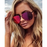 quay australia - the playa 64mm aviator sunglasses - black/pink