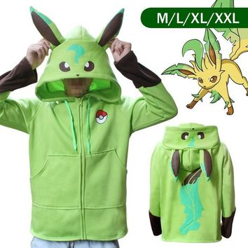 Totoro   Grass Ibe and Water Ibera Velvet Thickening Sweater Jackets cosplay jacket with hatKawaii Pokemon go  AT_89_9