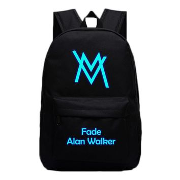 Music DJ Comedy Alan Walker Backpacks Luminous Bags For Teenagers Fade Faded Travel Bags High Quality School Bag Gifts Hip Hop