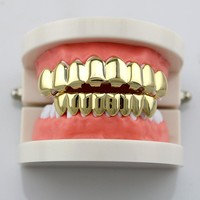 Fashion House Wife Gold/Silve Plated HIP HOP Teeth Grillz 8 Top & Bottom Teeth Set With Silicone Model Vampire Teeth Caps NL0015