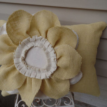 "Yellow burlap pillow  with a large Burlap Flower, 14"" x 18"", decorative pillow, cottage style pillow, couch pillow"
