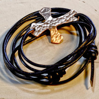 Hammered cross leather wrap with genuine greek leather