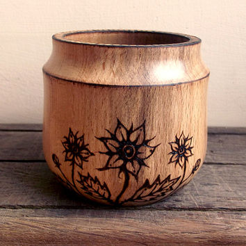 Wood Pot - Turned Wood pot with Wood Burning (Pyrography). Beech. Wood Turning, Wood Vase, Turned Wood, Wooden Pot, UK