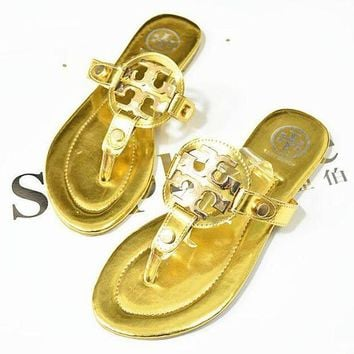 Tory Burch Popular Women Personality Flat Sandal Slipper Shoes Gold
