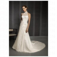Chic White Satin High Neck A line Applique Wedding Dress