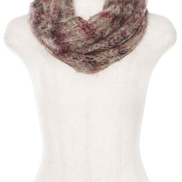 MULTI COLOR HEATHERED BULKY KNIT INFINITY SCARF