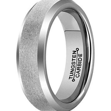 6mm Silver Tungsten Carbide Ring Simple Style Wedding Jewelry Engagement Promise Band Matte Finish Beveled Edge (Platinum)