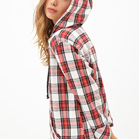 FOREVER 21 Hooded Plaid Flannel Top Red/Cream