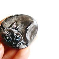 Birman Cat, Keepsake Gift, Pet Art Portrait Stone, Kitty Loaf, Memorial Gift for Cat Lovers, Siamese Cat, Hand Painted Beach Pebble Stone