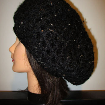 Over-sized slouchy black tweed beanie