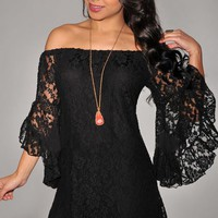 $ 24.59 Ericdress Slash Neck Lace Dress