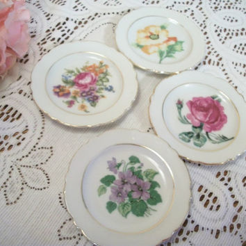 Porcelain Plates Floral Home Decor Hand Painted Flowers with Gold Gilt Set of Four Small Dishes