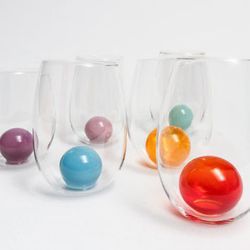 Hand Blown Glass Wine Glasses Wine Lovers Unique Gift  Wine Cup Bubble Glasses Wedding Gifts