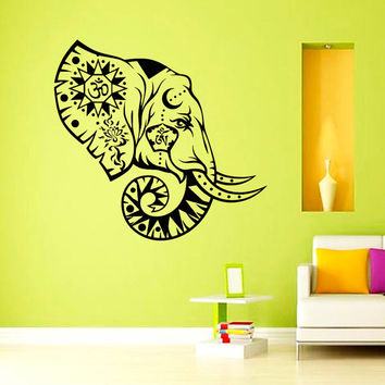 Elephant Wall Decal Indian Pattern Om Sign Decal Vinyl Sticker Wall Decor Home Interior Design Art  U307
