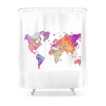 Society6 Map Of The World Shower Curtains