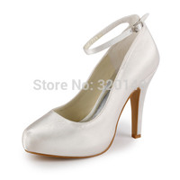 "Elegant Women's Evening Party Pumps EP11049-IP Ivory Round Toe 4"" Stiletto Heel Platform Ankle Strap Satin Wedding Bridal Shoes"