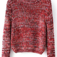 Red Knitted Cropped Sweater