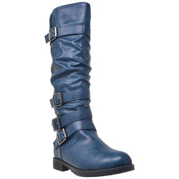 Blue Strappy Knee High Slouch Boot