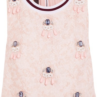 Mother of Pearl - Morley cropped embellished cloqué top