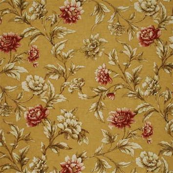 Mulberry Fabric FD252.N106 Gilded Peony Sand/Red