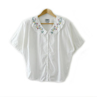 Vintage Shirt ~ Size S ~ 90s Floral Flower Embroidered Collar White Pink Yellow Green Blue Button Up Shirt ~ By At Last Basics
