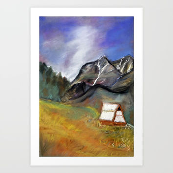 stormy sky above the mountains Art Print by AidaArt