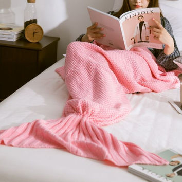 Pink Knitted Mermaid Sofa Blanket