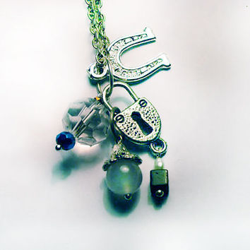Charm Necklace with Padlock, Horseshoe, Tigers Eye & Freshwater Pearl