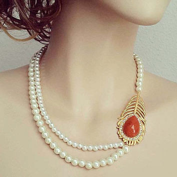 Pearl Wedding Necklace Gold Leaf Brooch Vintage Style Bridal Jewelry