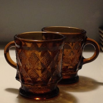Anchor Hocking Amber Mugs 1960s Diamond Pattern Glass Coffee Mugs Dark Amber Color Root Beer Color Vintage