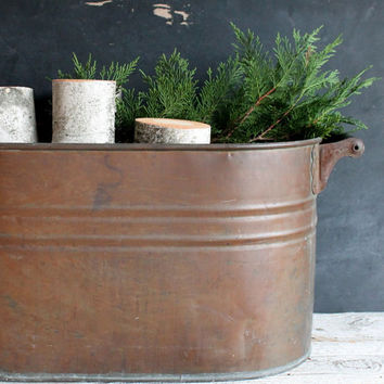 Large Copper Container for Fireplace Wood or Party Wine Cooler, Champagne or Beer Ice Bucket