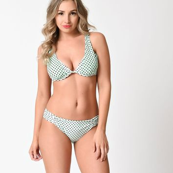 Betsey Johnson Mint & Black Duo Dot Mesh Bikini Swim Top