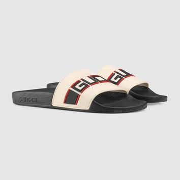 Gucci - Gucci stripe rubber slide sandal