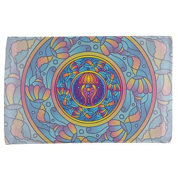 Mandala Trippy Stained Glass Jellyfish All Over Hand Towel